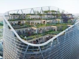 Hochhaus mit Gärten