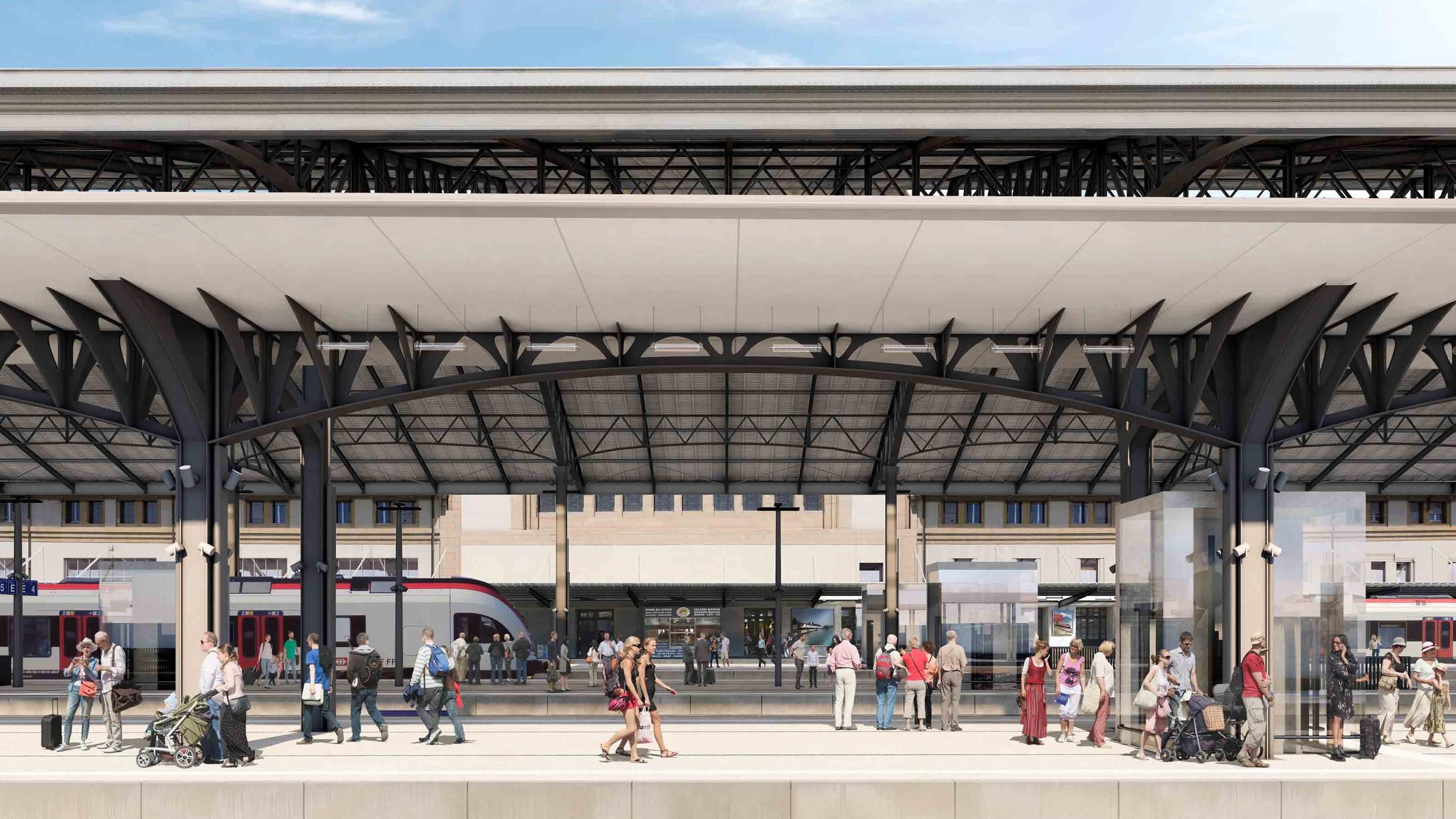 Visualisierung längere Perron beim Bahnhof Lausanne