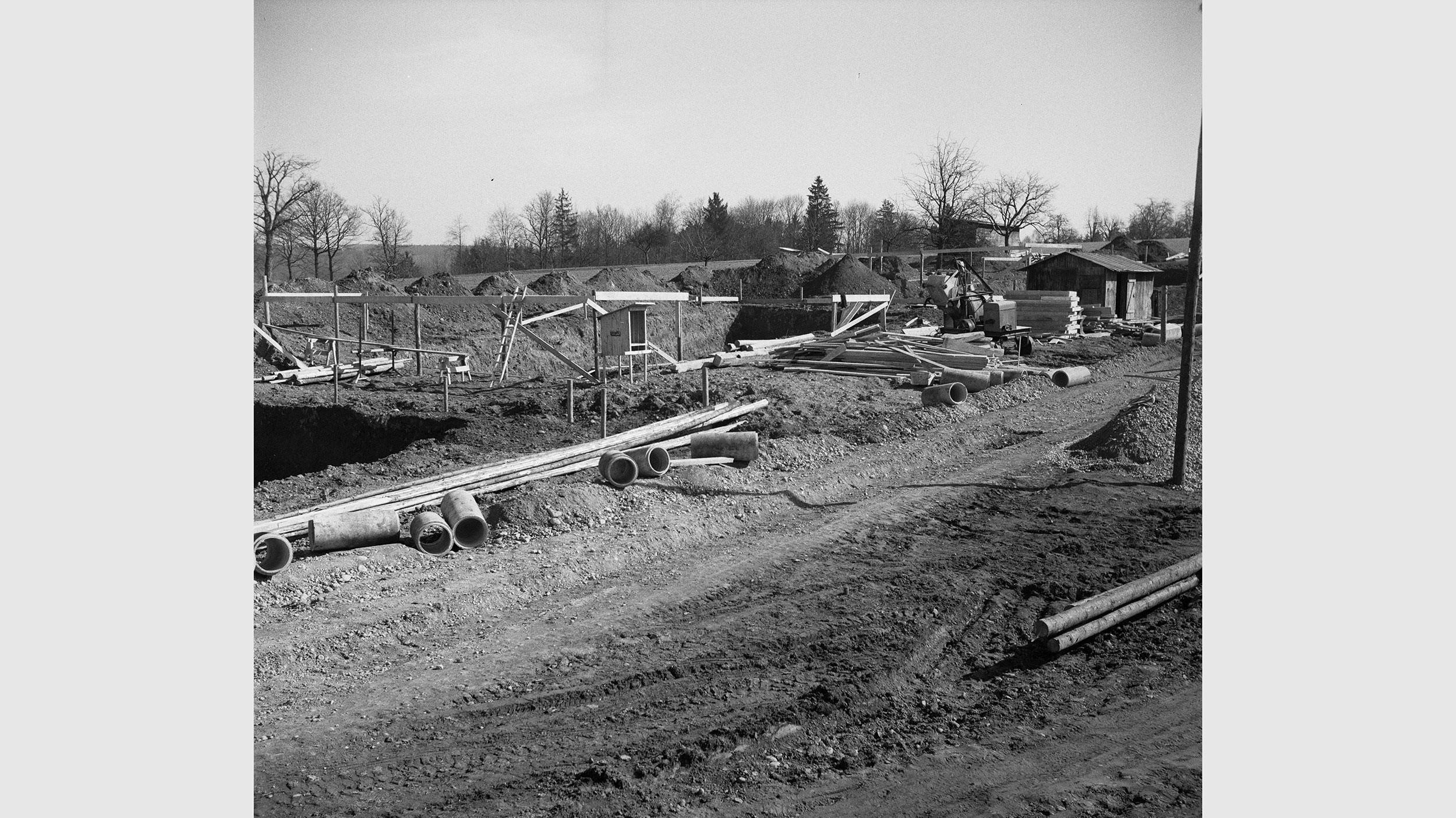 Bauarbeiten für den neuen Flughafen Zürich-Kloten