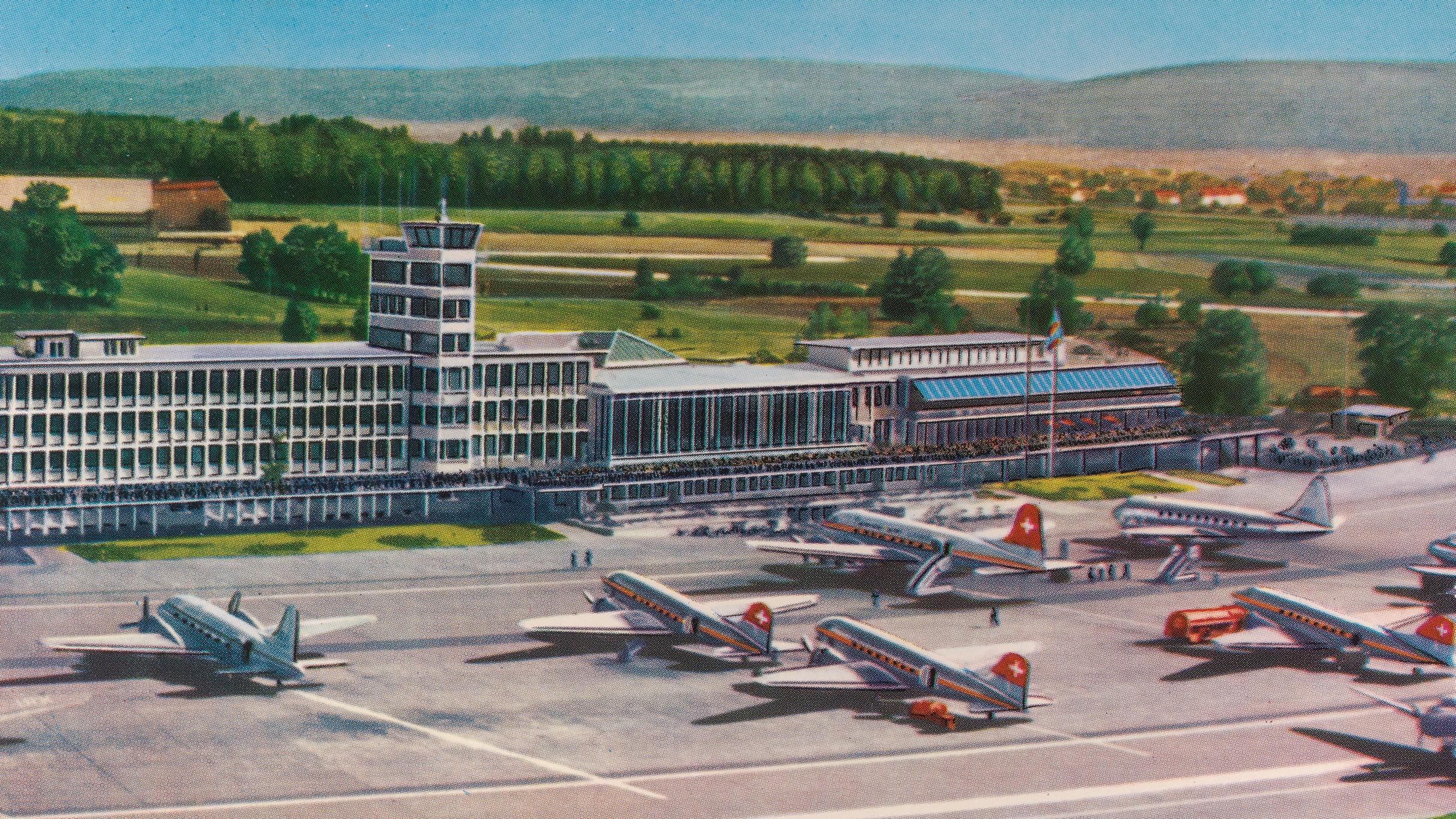 Postkarte des Flughofs in Zürich-Kloten