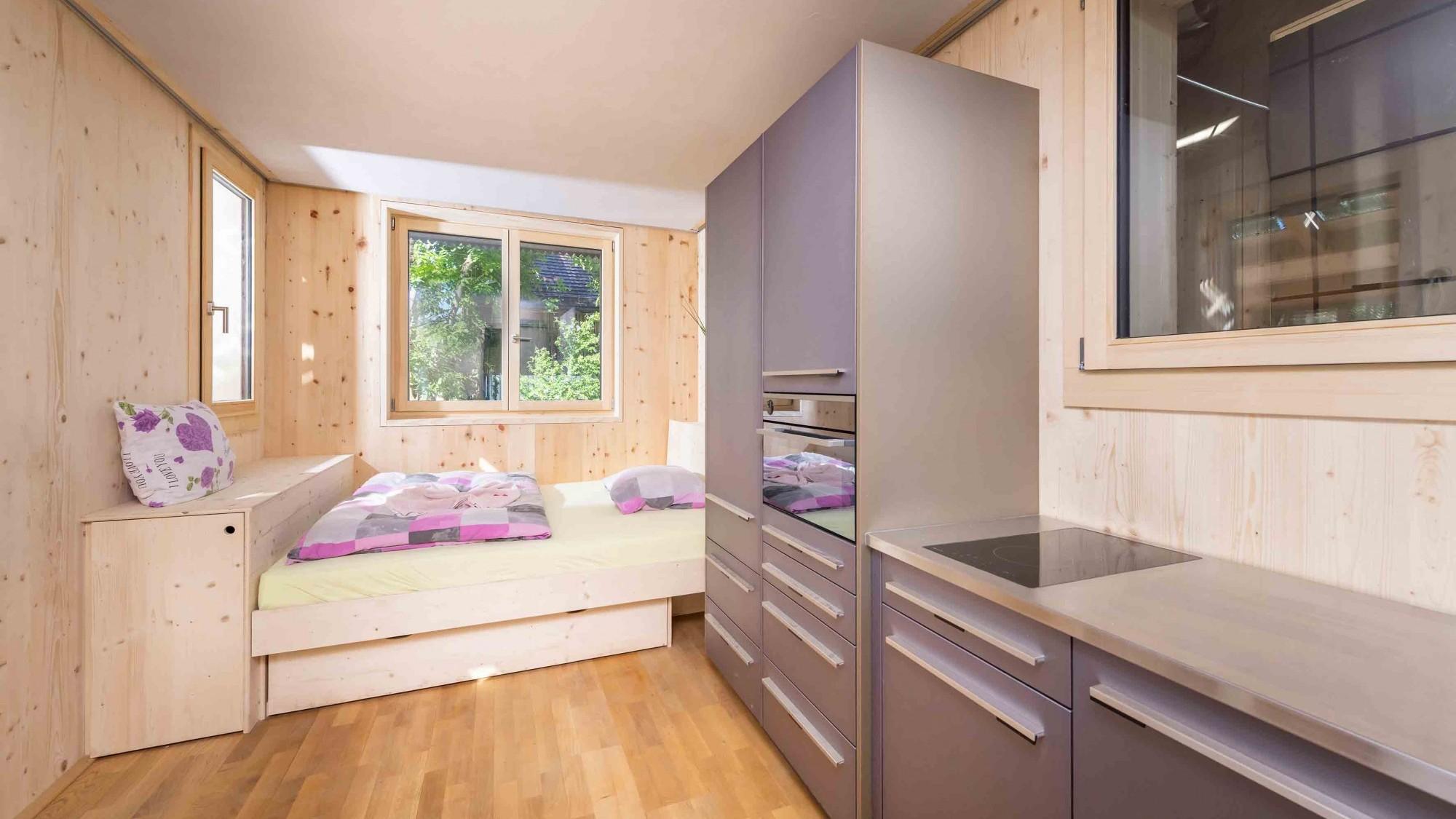Schlafzimmer im Kreis-Haus in Hombrechtikon