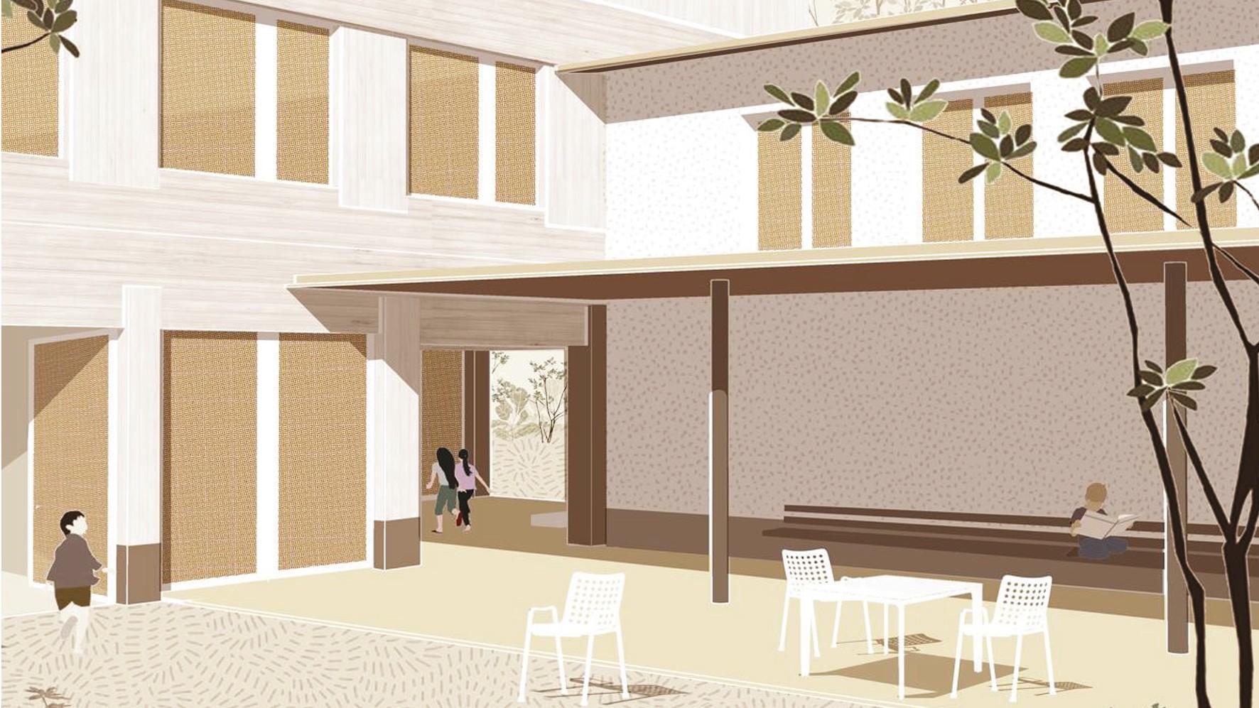 Verbindung zwischen Erweiterung und Bestand Schulhaus In der Ey (Visualisierung)