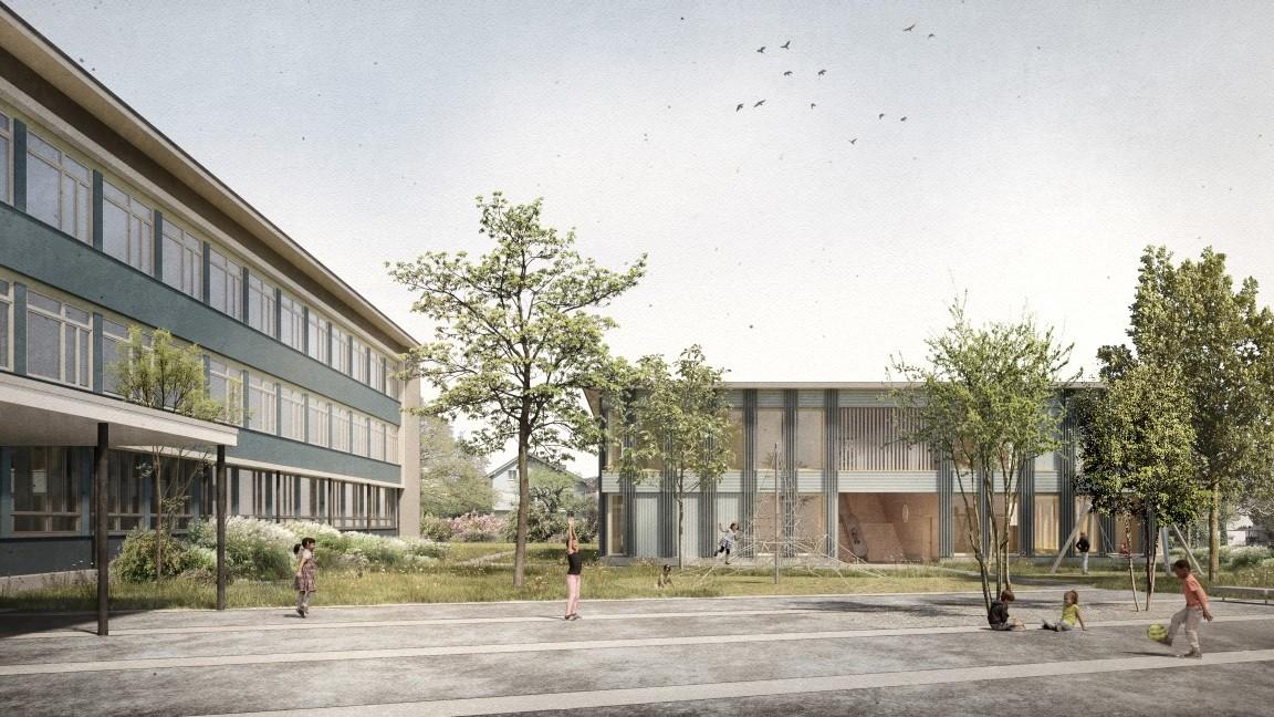 Visualisierung Sanierung und Erweiterung Schule Sternmatt Baar