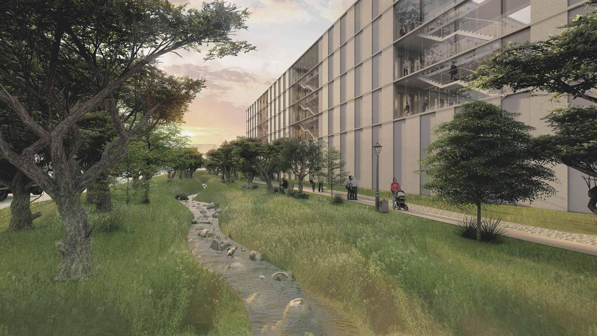 Visualisierung neues Polizeizentrum Niederwangen Stadtbach